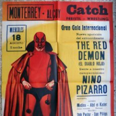 Coleccionismo deportivo: CARTEL LUCHA LIBRE , CATCH , MONTERREY ALCOY 1965 , NINO PIZARRO Y THE RED DEMON , RAGA , ORIGINAL. Lote 147987846