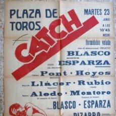 Coleccionismo deportivo: CARTEL LUCHA LIBRE , CATCH , PLAZA DE TOROS DE VALENCIA , AÑOS 1950 1960 , ORIGINAL . Lote 148052542
