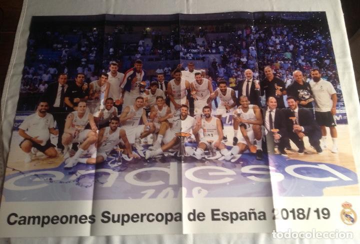 Coleccionismo deportivo: REAL MADRID:TRES CARTELES POSTERS BALONCESTO, CAMPEON COPA REY 2017, LIGA 2015-16, SUPERCOPA 2018-19 - Foto 4 - 153472558
