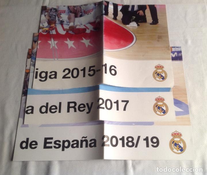 REAL MADRID:TRES CARTELES POSTERS BALONCESTO, CAMPEON COPA REY 2017, LIGA 2015-16, SUPERCOPA 2018-19 (Coleccionismo Deportivo - Carteles otros Deportes)