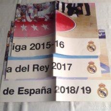Coleccionismo deportivo: REAL MADRID:TRES CARTELES POSTERS BALONCESTO, CAMPEON COPA REY 2017, LIGA 2015-16, SUPERCOPA 2018-19. Lote 153472558