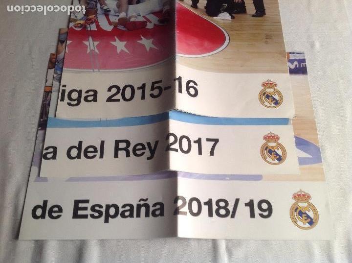 Coleccionismo deportivo: REAL MADRID:TRES CARTELES POSTERS BALONCESTO, CAMPEON COPA REY 2017, LIGA 2015-16, SUPERCOPA 2018-19 - Foto 5 - 153472558