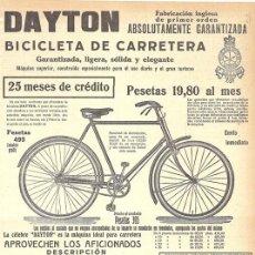 Coleccionismo deportivo: 1920 HOJA REVISTA PUBLICIDAD ANUNCIO BICICLETA DE CARRETERA DAYTON FABRICACIÓN INGLESA CICLISMO. Lote 154095610