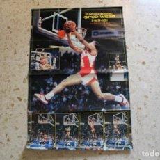 Coleccionismo deportivo: POSTER GIGANTE NBA (87X57) SPUD WEBB (ATLANTA HAWKS) EL REY DEL MATE 1986 - REVISTA NUEVO BASKET. Lote 155666850