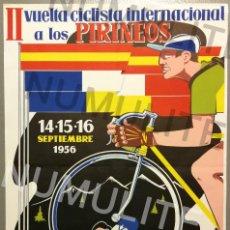 Coleccionismo deportivo: NUMULITE CAR0046 CARTEL CICLISMO II VUELTA CICLISTA INTERNACIONAL A LOS PIRINEOS 1956 RIPOLL PIRINEO. Lote 158885570