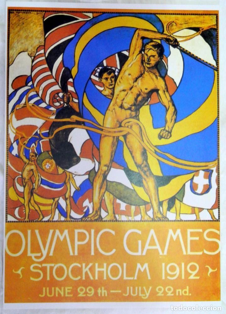 CARTEL JUEGOS OLÍMPICOS ESTOCOLMO 1912, EDICIÓN ESPECIAL 29.8 X 21 CMS (Coleccionismo Deportivo - Carteles otros Deportes)