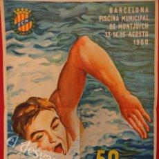 Coleccionismo deportivo: CARTEL CAMPEONATOS DE ESPAÑA DE NATACION Y SALTOS. BARCELONA. MONTJUICH 1960. 49 X 35 CTMS. Lote 162604922