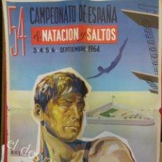 Coleccionismo deportivo: CARTEL CAMPEONATOS DE ESPAÑA DE NATACION Y SALTOS 1964. TENERIFE 68 X 49 CTMS. Lote 162611006