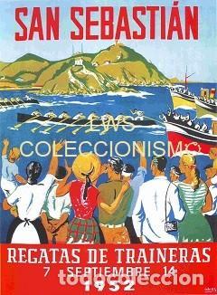 SAN SEBASTIAN - REGATAS DE TRAINERAS 1952 - PUBLICIDAD IMÁGENES - DEPORTES - REMO (Coleccionismo Deportivo - Carteles otros Deportes)