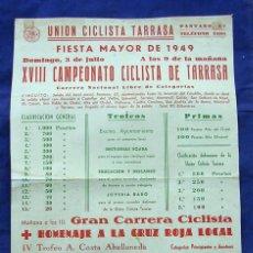 Coleccionismo deportivo: ANTIGUO PÓSTER CARTEL XVIII CAMPEONATO FIESTA MAYOR UNIÓN CICLISTA TERRASSA 1949. . Lote 164090066