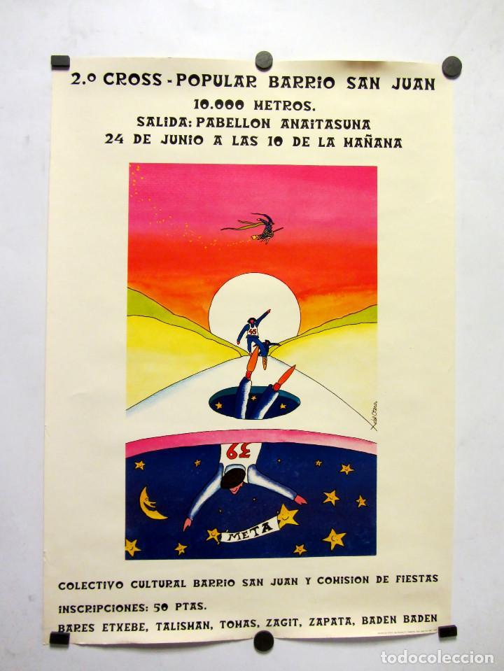 2º CROSS POPULAR BARRIO SAN JUAN (PAMPLONA, 1979). 44X 63CMS. (Coleccionismo Deportivo - Carteles otros Deportes)