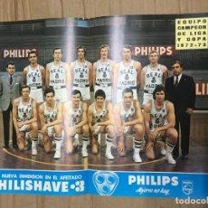 Coleccionismo deportivo: CARTEL POSTER OFICIAL REAL MADRID PHILIPS BALONCESTO BASKET PLANTILLA CAMPEON LIGA Y COPA 1972 1973. Lote 171705220