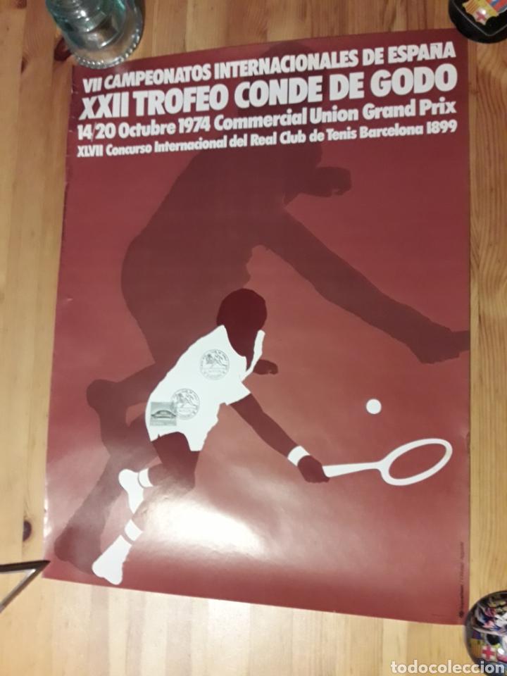 CARTEL TROFEO CONDE DE GODÓ XXII 1974 REAL CLUB TENIS BARCELONA V. ALONSO AYGUADE CON SELLO Y TAMPON (Coleccionismo Deportivo - Carteles otros Deportes)