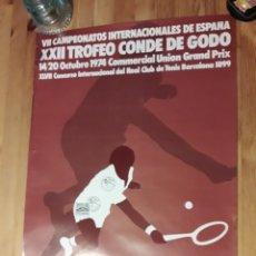 Coleccionismo deportivo: CARTEL TROFEO CONDE DE GODÓ XXII 1974 REAL CLUB TENIS BARCELONA V. ALONSO AYGUADE CON SELLO Y TAMPON. Lote 176002682