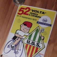 Coleccionismo deportivo: CARTEL 52 VOLTA CICLISTA CATALUNYA 1972 CON SELLO Y TAMPON ROMANOS. Lote 176003165
