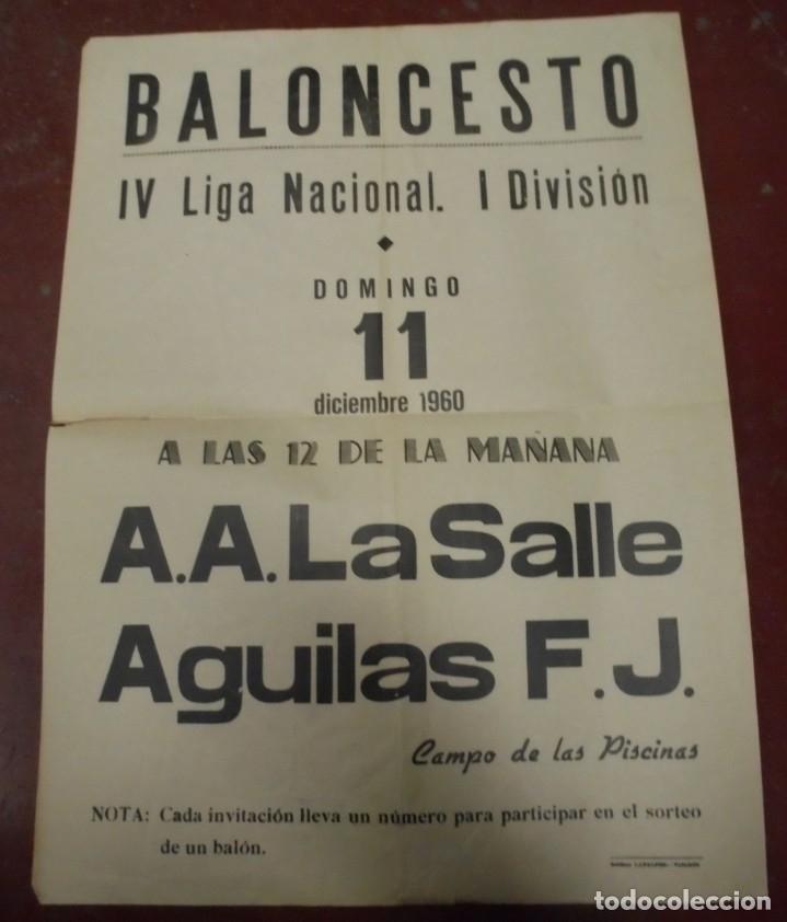 CARTEL BALONCESTO. IV LIGA NACIONAL 1º DIVISION. 1960. A.A.LA SALLE / AGUILAS F.J. VER (Coleccionismo Deportivo - Carteles otros Deportes)