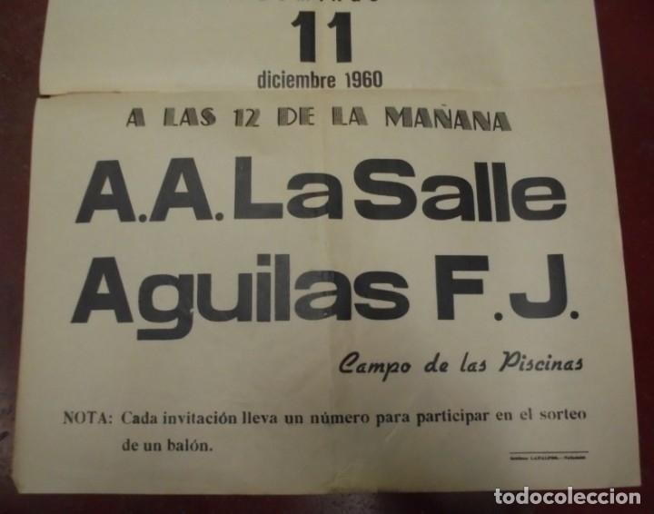 Coleccionismo deportivo: CARTEL BALONCESTO. IV LIGA NACIONAL 1º DIVISION. 1960. A.A.LA SALLE / AGUILAS F.J. VER - Foto 2 - 176889573