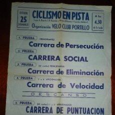 Coleccionismo deportivo: CARTEL DE CICLISMO EN PISTA, ORGANIZACION VELO CLUB PORTILLO, CAMPO DE DEPORTES S.R. BOETTICHER Y NA. Lote 177130890