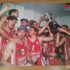 Coleccionismo deportivo: POSTER ADECCO ESTUDIANTES. CAMPEÓN COPA DEL REY 2000. Lote 177368949