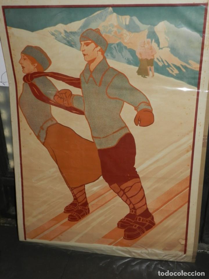 (M) CARTEL ORIGINAL CENTRE EXCURSIONISTA DE CATALUNYA SPORTS D'HIVERN A RIBAS 1911 (Coleccionismo Deportivo - Carteles otros Deportes)
