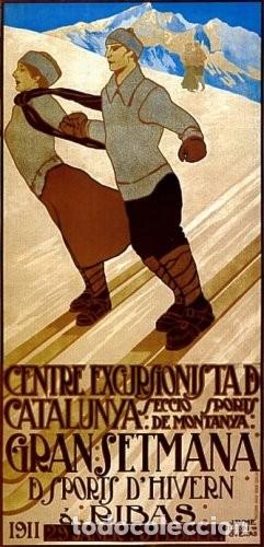 Coleccionismo deportivo: (M) CARTEL ORIGINAL CENTRE EXCURSIONISTA DE CATALUNYA SPORTS DHIVERN A RIBAS 1911 - Foto 8 - 178880472