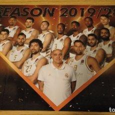 Coleccionismo deportivo: LÁMINA OFICIAL REAL MADRID BALONCESTO BASKET 2019 2020 19 20 - LLULL RUDY CAMPAZZO TAVARES CARROLL. Lote 179106202