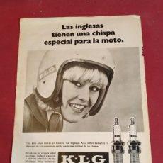 Coleccionismo deportivo: RECORTE REVISTA CON PUBLICIDAD BUJÍAS KLG. Lote 179225315
