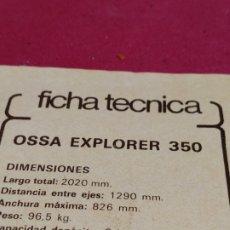 Coleccionismo deportivo: RECORTE REVISTA CON FICHA TÉCNICA OSSA EXPLORER 350. Lote 179225393