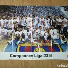 Coleccionismo deportivo: GRAN POSTER 84 X 59 CM LIGA 2015 BALONCESTO REAL MADRID. Lote 181988798