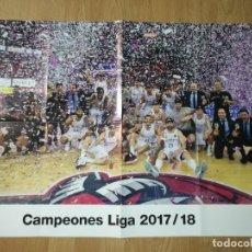 Coleccionismo deportivo: GRAN POSTER 84 X 59 CM CAMPEONES LIGA 2017-18 BALONCESTO REAL MADRID. Lote 181989126