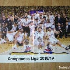 Coleccionismo deportivo: GRAN POSTER 84 X 59 CM CAMPEONES LIGA 2018-19 BALONCESTO REAL MADRID. Lote 181989201