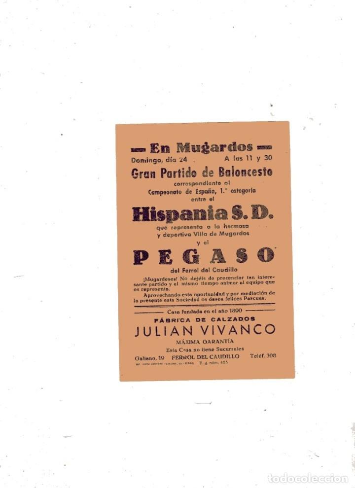 CARTEL PEQUEÑO FORMATO. GRAN PARTIDO DE BALONCESTO. HISPANIA S. D. Y EL PEGASO. MUGARDOS. (Coleccionismo Deportivo - Carteles otros Deportes)
