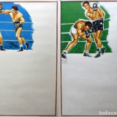 Coleccionismo deportivo: 2 BONITOS CARTELES DE BOXEO SIN IMPRIMIR - AÑO 1963. Lote 182503628