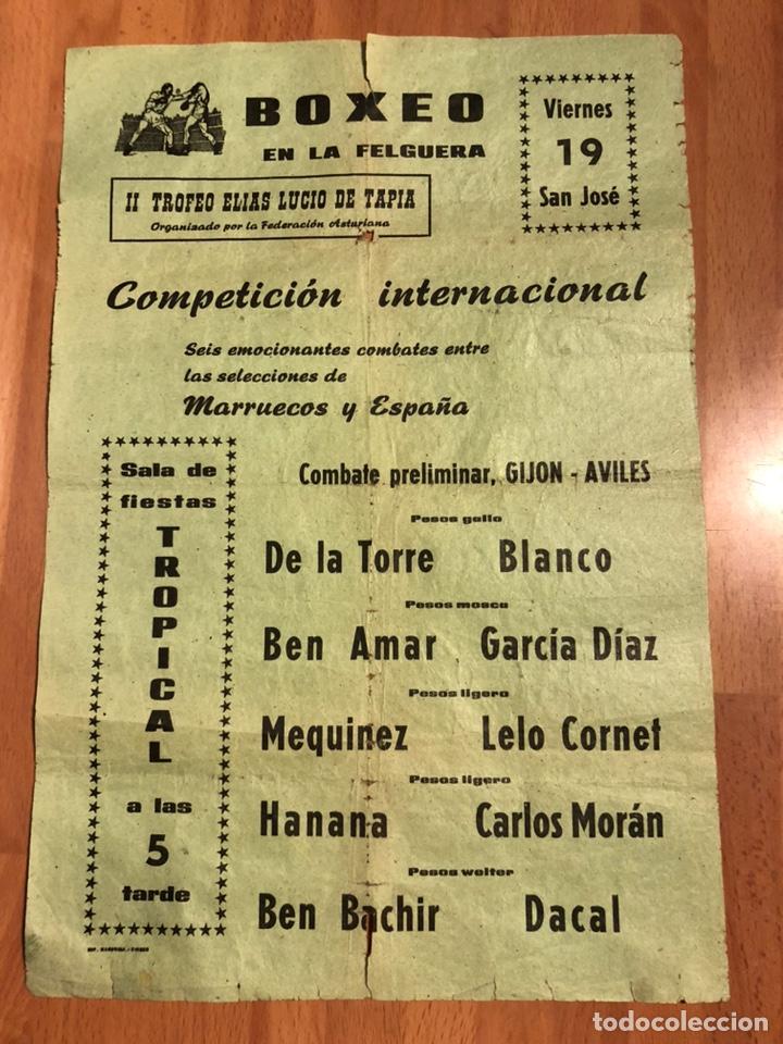 CARTEL COMBATE DE BOXEO EN LA FELGUERA ASTURIAS.MARRUECOS ESPAÑA.GIJON AVILES.BEN BACHIR.AMAR.HANANA (Coleccionismo Deportivo - Carteles otros Deportes)