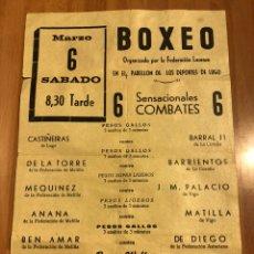 Coleccionismo deportivo: CARTEL COMBATE BOXEO FEDERACIÓN LUCENSE LUGO.BEN BACHIR CAMPEÓN MELILLA.DACAL CAMPEÓN ASTURIAS. Lote 183774116
