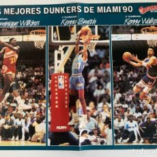 Coleccionismo deportivo: PÓSTER DUNKERS MIAMI'90 (GIGANTES DEL BASKET) - DOMINIQUE WILKINS, KENNY SMITH, KENNY SKYWALKER. Lote 184104580
