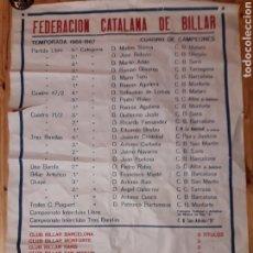 Coleccionismo deportivo: CARTEL FEDERACION CATALANA DE BILLAR 1966-67 MATARÓ OLIMPIA SANTS MONFORTE MOLLERUSSA PAZ JUSTICIA. Lote 188829666