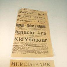 Coleccionismo deportivo: ANTIGUOS FOLLETO Y CARTEL DE BOXEO. MURCIA-PARK. 9 DE SEPTIEMBRE DE 1934. INGACIO ARA-KID YANSOUR.. Lote 189594032
