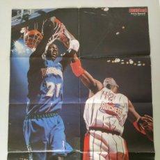 Coleccionismo deportivo: LOTE 5 PÓSTERS GIGANTES NBA REVISTA AMERICAN BASKET (GARNETT, BARKLEY, MILLER, KEMP, KIDD...). Lote 189958961