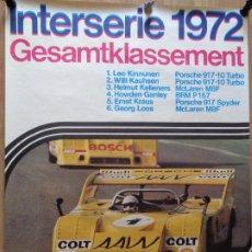 Coleccionismo deportivo: CARTEL / POSTER ORIGINAL PORSCHE INTERSERIE 1972 CLASIFICACIÓN GENERAL. 101CM X 76CM. BUEN ESTADO. Lote 191104702