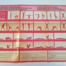 Coleccionismo deportivo: SALTER - ANTIGUO CARTEL TABLA DE EJERCICIOS AÑOS 70 // MANCUERNAS MUSCULACION CULTURISMO PESAS. Lote 226908885