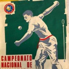 Coleccionismo deportivo: CARTEL ORIGINAL CAMPEONATO NACIONAL DE PELOTA VASCA BARCELONA 1970 REAL FEDERACION PELOTA VASCA. Lote 194697970