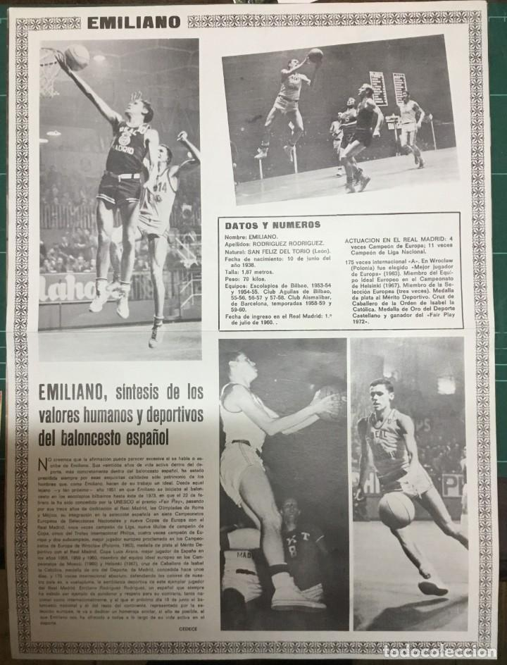 Coleccionismo deportivo: LOTE 3 POSTERS A COLOR - BALONCESTO - REAL MADRID - Emiliano, Paniagua y Luyk - DIN A3 - Foto 4 - 194779616