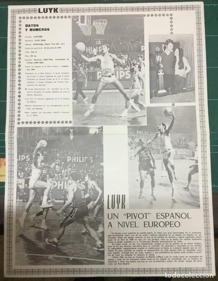 Coleccionismo deportivo: LOTE 3 POSTERS A COLOR - BALONCESTO - REAL MADRID - Emiliano, Paniagua y Luyk - DIN A3 - Foto 6 - 194779616
