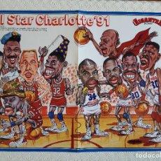 Coleccionismo deportivo: POSTER NBA REVISTA GIGANTES DEL BASKET . AÑOS 80. ALL STAR CHARLOTTE 91 CARICATURAS. MICHAEL JORDAN.. Lote 197200931