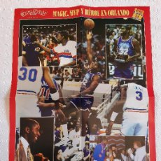 Coleccionismo deportivo: POSTER DOBLE NBA REVISTA GIGANTES DEL BASKET . AÑOS 90. ALL STAR ORLANDO 92. MAGIC JOHNSON CEBALLOS.. Lote 197201453