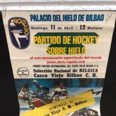 Coleccionismo deportivo: POSTER CARTEL HOKEY SOBRE HIELO ANTIGUO. Lote 200538698