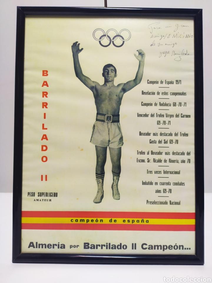 LÁMINA DE BARRILADO BOXEADOR ALMERÍA AÑO 70/71 CON FIRMA DEDICATORIA (Coleccionismo Deportivo - Carteles otros Deportes)
