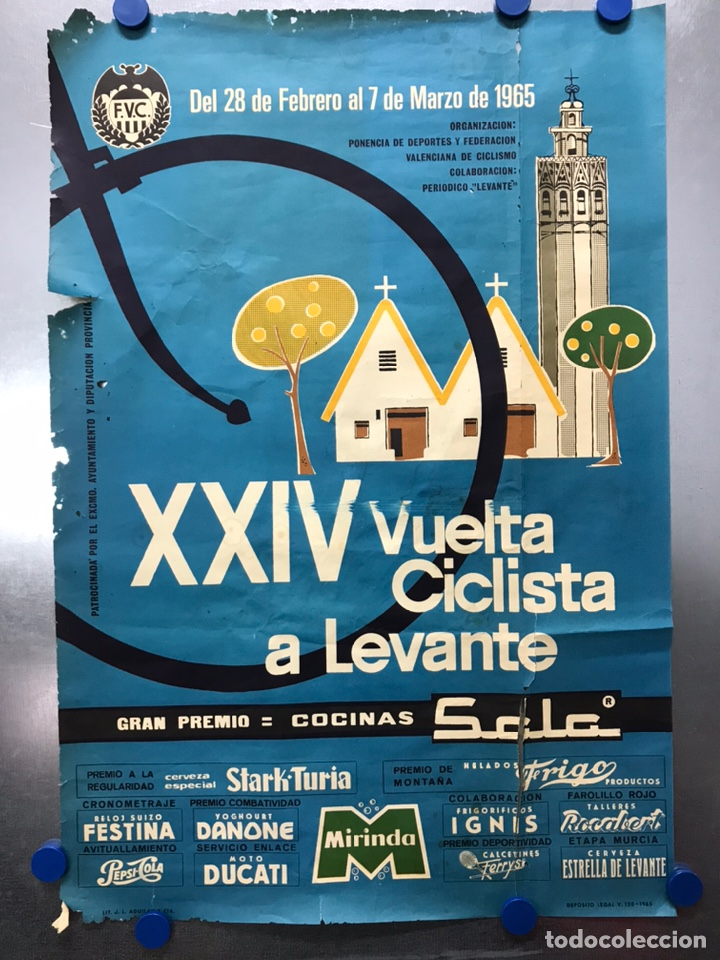 XXIV VUELTA CICLISTA A LEVANTE, GRAN PREMIO COCINAS SADA, MARZO DE 1965 (Coleccionismo Deportivo - Carteles otros Deportes)