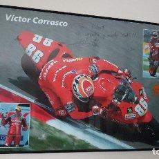 Coleccionismo deportivo: MOTORISTA VICTOR CARRASCO, (86) HONDA, CON DEDICATORIA Y FIRMADO, CAMPEONATO DE ESPAÑA DE VELOCIDAD.. Lote 204174900